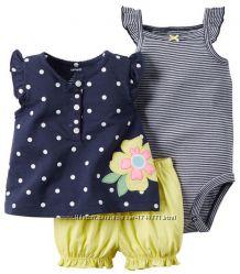 Комплект 3в1 для девочки блузка, боди, шорты, Carters