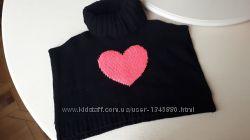 Теплый черный вязаный гольф пончо кофта Carters 3T, розовое сердце
