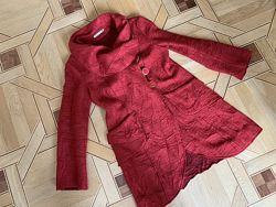 Легкое шерстяное мягкое пальто, L-XL,  итальянская шерсть, воротник