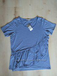 Трендовая футболка с воланом george 16 размер