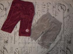 Велюровые штанишки, бриджи, шортики до года, комплект 4 шт