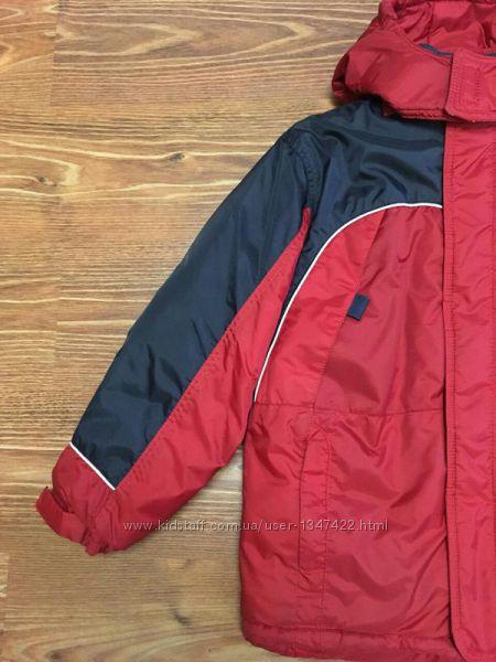 Зимняя термокуртка на мальчика красно-синего цвета, р. 140-146