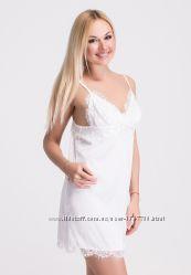 Ночная рубашка белая из шелка, пеньюар Н010х.