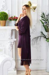 Домашний халат с кружевом Х501н Сливовый ccaa677243b79