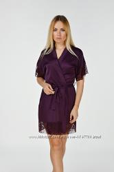 Летний шелковый халат женский с кружевом Хс041н