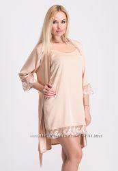 Комплект женский шелковый ночная рубашка и халат К035н
