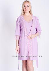 Комплект для сна из вискозы с кружевом ночная сорочка и халат К118н