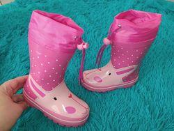 Резинові чобітки для дівчаток на флісі 23-28р