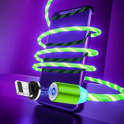 Магнитный кабель 360  MicroUSB со светящим эффектом