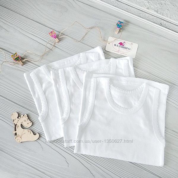 Белые майки для девочек рост 110. Фламинго