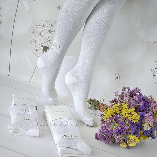 Белые колготки с люрексом, для девочек в школу, ароматизированные, Турция