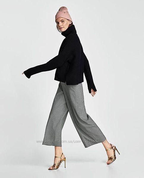Стильные укороченые брюки кюлоты в гусиную лапку с карманами