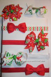 новогодние повязки бантики заколки обручи резинки