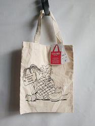 Эко-сумка торба Раскраска хлопок французского бренда Kiabi Европа Оригинал