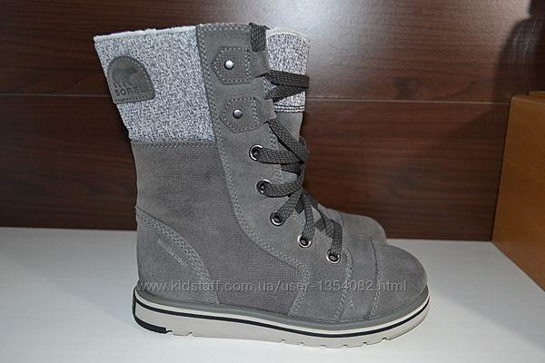 Sorel 37-36р сапоги ботинки кожаные зимние дутики термо
