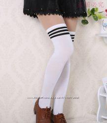 Гольфы полосатые выше колена высокие носки чулки спортивные