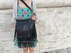 Шкіряна сумка з бахромою чорна 705148050b276