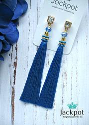 Сині сережки китиці  з кристалами ручна робота