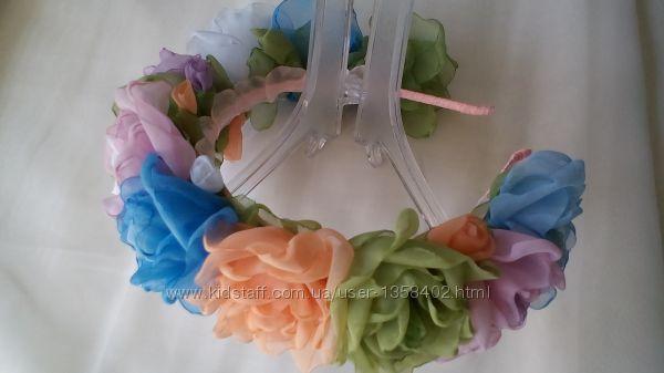 Обруч Радужные розы ободок, веночек, авторская ручная работа