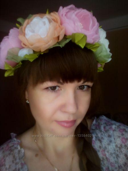 Шикарный веночек Валенсия авторская ручная работа, обруч, шифон, цветы