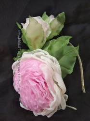 Обруч Английская роза, ободок, веночек, цветы из шифона и атласных лент