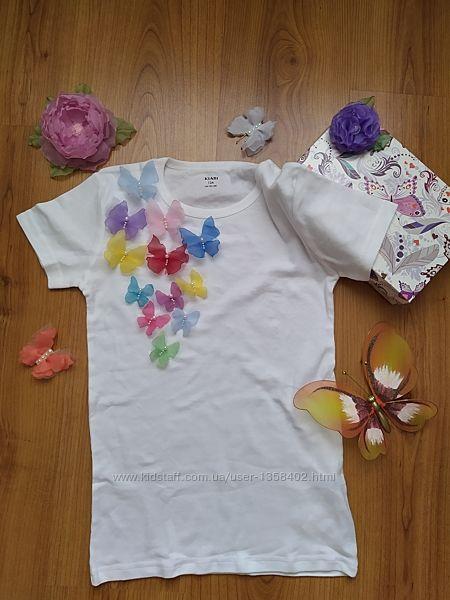 Оригинальная и нежная футболка с бабочками из шифона, футболка з метеликами