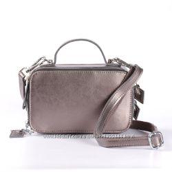 Кожаная сумочка на длинной ручке, цвет хамелеон серебробронза