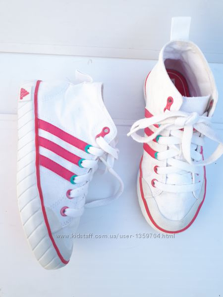 Текстильные кеды высокие кроссовки девочки от Adidas оригинал Белые