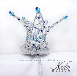 Корона на ободке на голову из хрустальных бусин