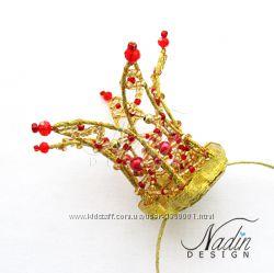 Корона на ободке  для принцесс на голову из хрустальных бусин ручной работы