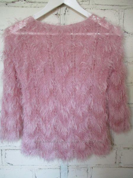 Джемпер нежно-розовый пушистый ручная работаxs-s