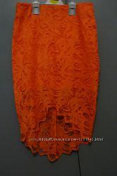 Шикарная коралловая юбка H&M, гипюр