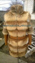 Шикарная шуба из натурального меха лисы огневки