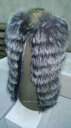 Детский меховый жилет из натурального меха чернобурки