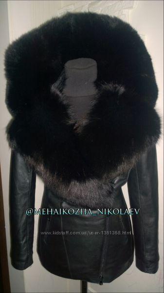 Шикарная куртка из натуральной кожи и воротником финского песца