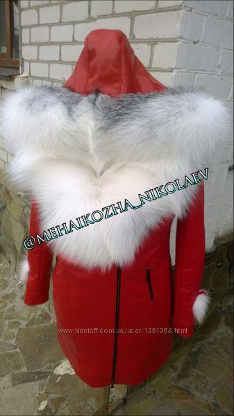Шикарная куртка из натуральной кожи и капюшоном из арктической лисы