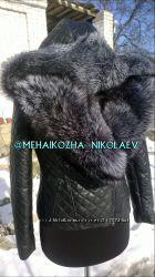Куртка косуха из натуральной кожи и капюшоном из натуральной чернобурки