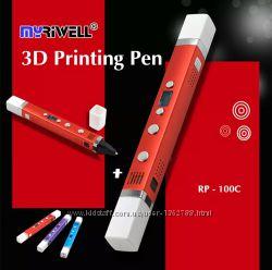 Myriwell-3 Гарантия 1год 3D pen RP-100C 3Д ручка и 9м пластика rp100c