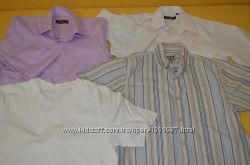 Рубашки разные в школу и футболка белая,  на 9, 10-12 лет