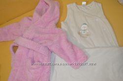 Банный халатик и спальный мешок для малышки 3-12 мес.