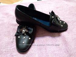 Роскошные комфортные туфли балетки натуральная кожа бусины
