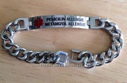 Медицинский ID браслет, браслет диабетика, аллергика, личная гравировка