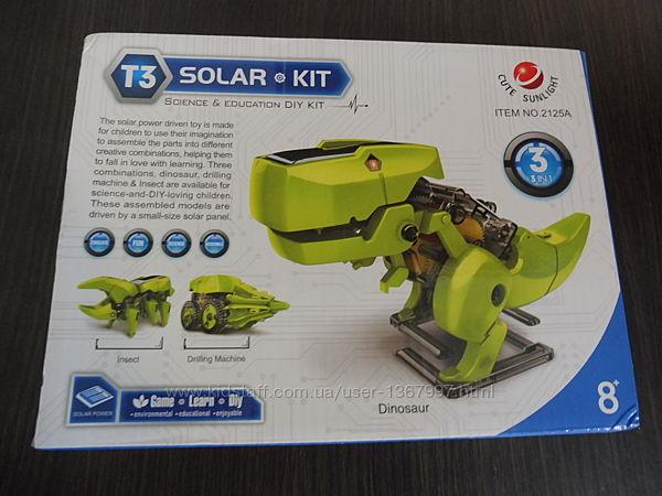 Конструктор на солнечной батарее 3 в 1, динозавр, машинка, жук
