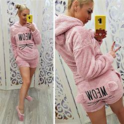 Женская махровая пижама с шортами Мяу Турция