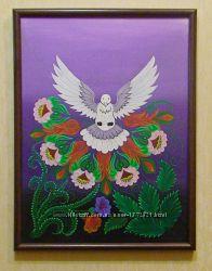 Картина Белый голубь на фиолетовом фоне