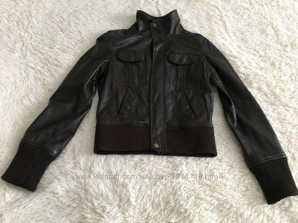 Женская кожаная куртка Mango осень-весна