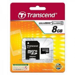 Карта памяти micro SD Transcend 8gb class4адаптер, новая, в упаковке
