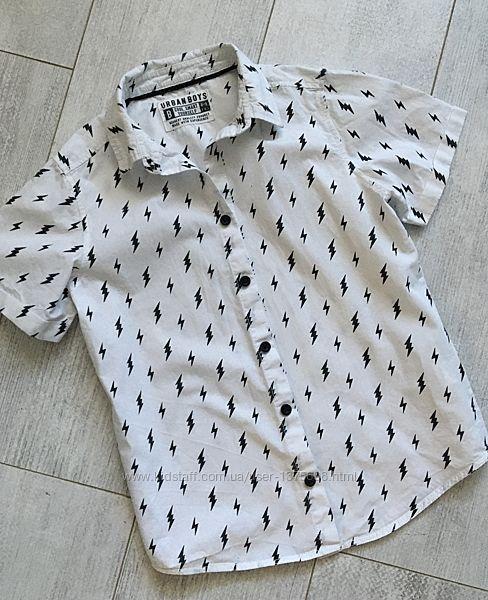 Белая рубашка маталан 8-9 лет короткий рукав Нарядная