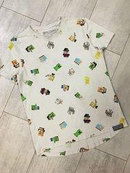 Белая синяя футболка поло белое 10-11 11-12лет в школу