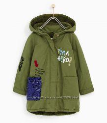 Замечательная демисезонная куртка парка ZARA с пайетками. ВИДЕООБЗОР